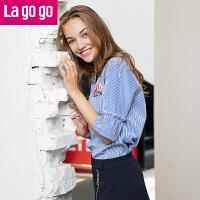 【商场同款】Lagogo/拉谷谷2017年夏季新款时尚百搭V领条纹上衣GASS325F35