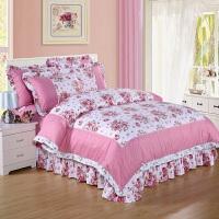 韩版全棉公主风花边床裙四件套纯棉床上用品1.5m1.8米床品套件冬 乳白色 优雅花姿
