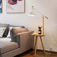 实木落地灯客厅床头灯充电创意北欧美式落地台灯立式置物架茶几灯 3.0版本摇臂款-9瓦无频闪LED 升级USB 2