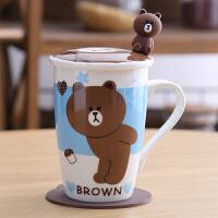 创意陶瓷杯子马克杯情侣水杯咖啡杯牛奶杯儿童卡通杯早餐杯带盖勺