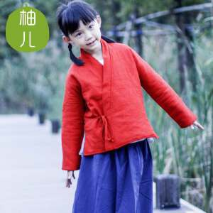 柚儿童装古装中式棉袄汉服亲子 男童女童新年装加棉唐装棉衣冬装