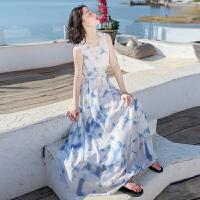 夏季新品女装系带无袖雪纺连衣裙长裙波西米亚海边度假沙滩裙 图片色X557