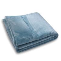 加厚双层法兰绒毯子单双人冬季拉舍尔毛毯珊瑚绒床单 烟蓝 法兰绒毛毯