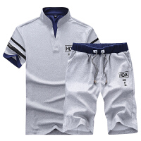 男士运动服套装中老年短袖短裤v领爸爸装薄款跑步休闲