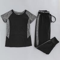 瑜伽服套装速干显瘦哈伦裤跑步服夏季新款健身房运动服女短袖宽松