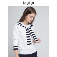 Lagogo/拉谷谷2019秋季新款韩系学院风针织衫HCMM458Y23