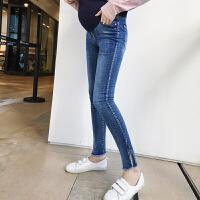 孕妇装秋装2018潮妈款修身韩版中长款辣妈牛仔托腹裤