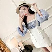 2018夏季新款女装一字领露肩抹胸泡泡袖上衣+吊带短裙时尚套装