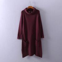 秋冬中长款女 套头韩版毛衣裙纯色 自由领显瘦包臀针织打底衫1A27
