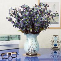 欧式仿真花束玫瑰绢花套装摆件客厅室内装饰摆件餐桌塑料假花干花 绿色 4花报春+蓝巴洛克