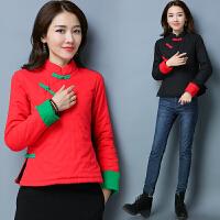冬装新款日常改良中式民族风复古棉麻撞色盘扣中式棉衣外套女