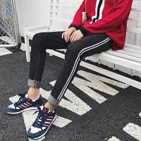 黑色牛仔裤子男秋冬季韩版潮学生个性侧条纹修身帅气小脚长裤潮