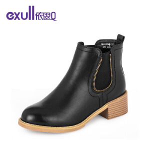 依思q新款圆头粗跟中跟套脚短靴简约时尚女靴子-T