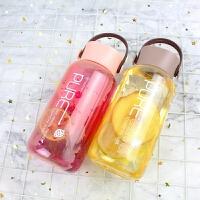 韩版简约透明塑料杯男女学生情侣可爱水杯创意潮流便携防漏随手杯