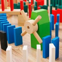 1000片480块多米诺骨牌儿童比赛标准 礼物智力实木制机关玩具