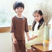 儿童睡衣男童空调服女童睡衣夏中大童短袖薄款纯棉宝宝家居服套装