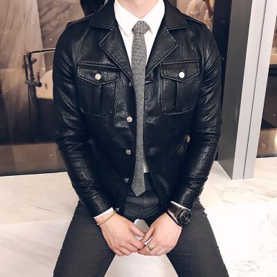 新款秋冬装修身机车皮衣青年韩版飞行衣服帅气复古皮夹克潮男时尚 发货周期:一般在付款后2-90天左右发货,具体发货时间请以与客服协商的时间为准
