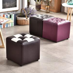 门扉 凳子 方形换鞋沙发四方凳pu皮革时尚搁脚凳服装店客厅家具沙发凳