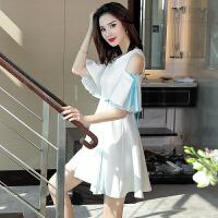 夏装2018新款女小清新露肩白色连衣裙裙少女裙子女夏季