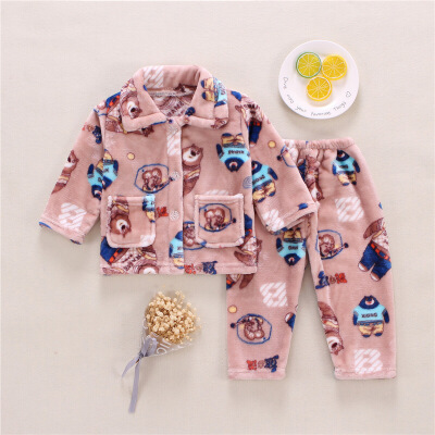 秋冬季男童儿童法兰绒睡衣女童宝宝加厚小孩家居服珊瑚绒套装男孩 发货周期:一般在付款后2-90天左右发货,具体发货时间请以与客服协商的时间为准