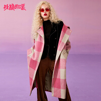 【3折价:396】【叠券满399减50】妖精的口袋Y红色格子呢子大衣女韩版冬装新款中长款毛呢外套