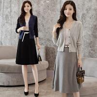 2017秋冬季新款女装韩版气质显瘦毛衣两件套毛呢裙针织套装时尚潮