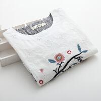 大码女装春装新款日系小清新鸟笼刺绣纯棉衬衫圆领衬衣上衣女