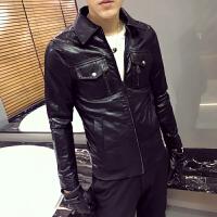 20180605052342525新款英伦水洗皮衣男士皮夹克修身潮男上衣翻领外套青少年韩版衣服
