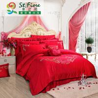 富安娜家纺 圣之花大红喜庆纯棉提花婚庆床上用品四件套 提绣单双人床单被套