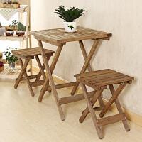 复古田园实木折叠餐桌椅组合休闲餐桌套装