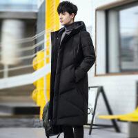 冬装加厚中长款男过膝加大码大衣韩版潮流保暖外套 黑色
