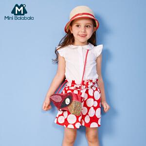 【每满199减100】迷你巴拉巴拉女童短袖衬衫年夏装新款宝宝儿童公主纯色上衣