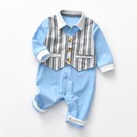 【专区2件2折:68元】预售罗町婴儿衣服2020春季新款童装男宝绅士满月周岁宝宝外出爬服假两件套装
