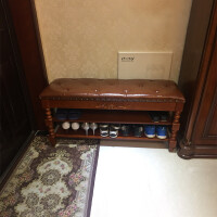 实木换鞋凳软包坐垫家用门口创意入户鞋柜可坐玄关穿鞋凳美式鞋架