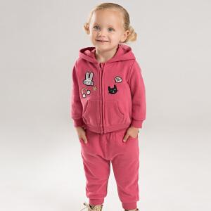 戴维贝拉春秋新款女童套装 宝宝卡通两件套DBM8259