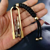 手工黄铜钥匙扣简约创意牛男佩戴钥匙扣铜汽车金属钥匙圈创意件 黄色