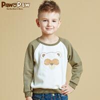 【3件2折 到手价:100】Pawinpaw宝英宝卡通小熊童装冬季款男童卡通卫衣儿童撞色套头衫