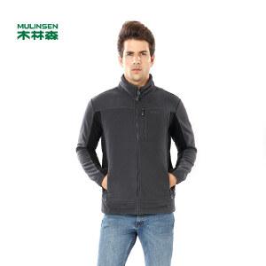 木林森男装服饰 春季新款男开衫保暖外套摇粒绒时尚休闲外套01361401