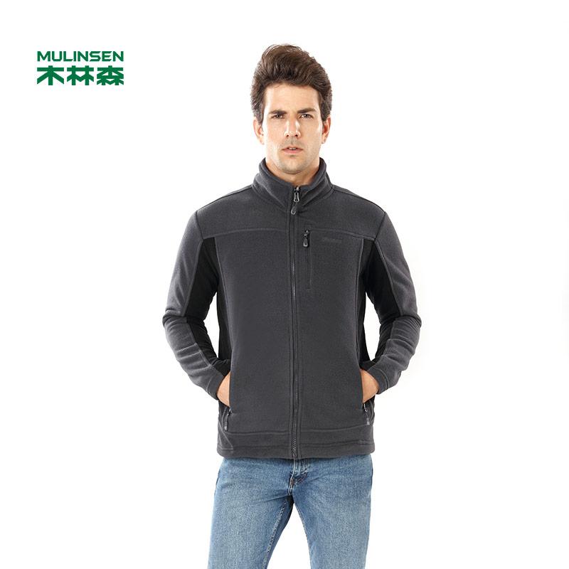 木林森男装服饰 秋季新款男开衫保暖外套摇粒绒时尚休闲外套01361401