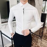 男士长袖衬衫潮男韩版个性刺绣衬衣