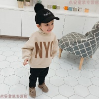 宝宝卫衣字母2018新款韩版童装儿童宽松外套加绒冬装男童上衣加厚