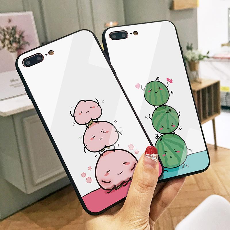 三个桃子苹果6splus手机壳可爱卡通iphoneX保护套全新款玻璃壳7硅胶全包边硬壳8P男女情侣款抖音网红同款六十