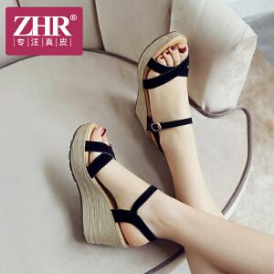 ZHR2018夏季新款韩版凉鞋松糕坡跟厚底女鞋一字扣高跟鞋学生鞋子M210