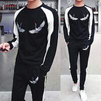 新款18秋季男士潮流黑白配长袖卫衣套装韩版修身青年大码休闲运动