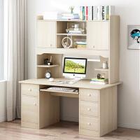 书桌简约电脑台式学生学习家用写字书柜书架组合一体简易卧室桌子