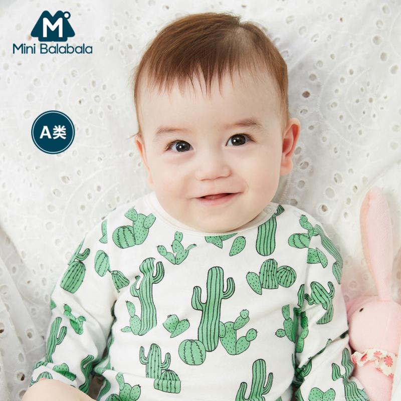 迷你巴拉巴拉男女新生儿时尚内着三角衣仙人掌印花2019春新纯棉两件装