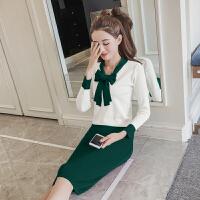 秋季套装女时尚两件套2017新款针织连衣裙秋冬韩版气质显瘦包臀裙