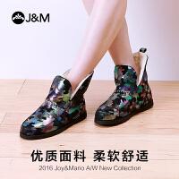 jm快乐玛丽潮欧美休闲迷彩加绒短筒女雪地靴羊毛一体女靴子61775W