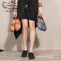 玛菲玛图圆头单鞋女秋季新款深口鞋低跟平底英伦复古学院风系带真皮鞋5525-3