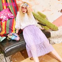 妖精的口袋Y小心机裙子夏装2018新款日系蕾丝甜美半身中长裙女